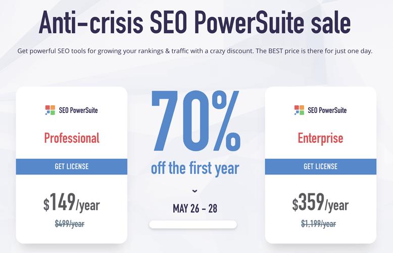 SEO PowerSuite Anti-crisis discount