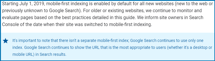 Mobile 1st indexing