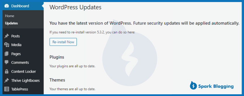 Secure WordPress using Updated Versions