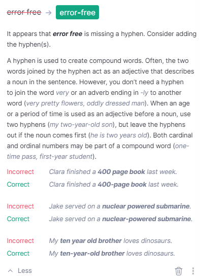 Grammarly explanations