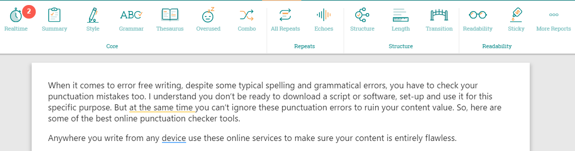 ProWritingAid punctuation checker