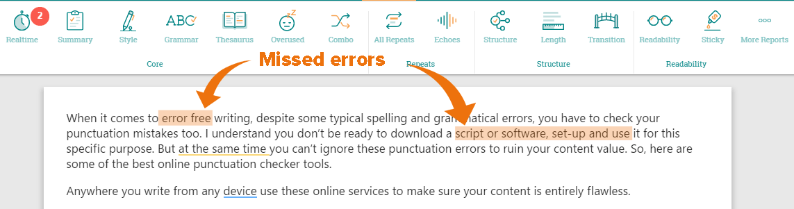 ProWritingAid missed errors